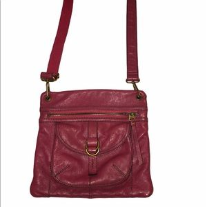 Fossil vintage red leather crossbody bag